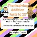 This product has 25 Thanksgiving themed cards with pictures that can be used to make addition sentences. Start out using the cards as a whole group...