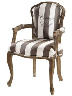 Cottage Club - Cotton striped armchair in grey and white French Chairs, Upscale Furniture, Affordable Furniture, Striped Chair, Chair, Reupholster Furniture, Armchair, Vintage Chairs, Upholstered Chairs