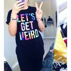 """""""Let's Get Weird"""" Tee ** NOT UO JUST LISTED FOR DISCOVERY **  Brand: Vintage   Let me know if you have any questions! ☺️✖️ Urban Outfitters Tops Tees - Short Sleeve"""