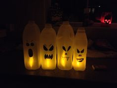 recycle some milk cartons into ghosts buy led tea lights for inside - Milk Carton Halloween Ghosts