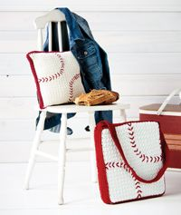 Summer Sports #Cushions and #Pillow - A #crochet pattern for the #baseball and #football fans in your life!