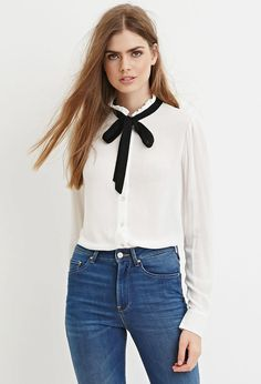 Contemporary Self-Tie Ruffled Blouse - Tops - 2000096118 - Forever 21 EU English