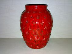 Vase FRATELLI FANCIULLACCI * ALLA MODA 912/A * Italy Erdbeere Strawberry Rot Red