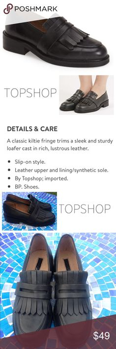 NEW!  TopShop Kitty Fringe Loafer Beautiful, chunky TopShop Kitty fringe loafers are brand new & crafted with genuine leather for a gorgeous shoe that will seamlessly dress up or down!  These chic loafers offer high end craftsmanship in a style that is totally on-trend & in a neutral shade that will perfectly pair with everything!  Size is 39 which TopShop states is equivalent to a US women's 8.5 but may run an approximate half size small, best for size 8.  No trades please.  Retail at $85…