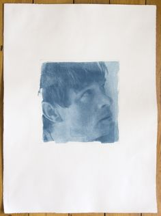 "Opening face - Fine Art Photography. Large Gum Print 30"" x 22"". Pigmented Print. Turquoise. Hand-made Gum Bichromate Print."