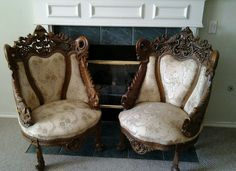 Hand carved upholstered chairs