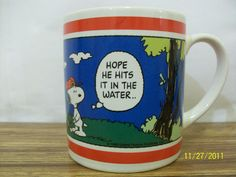 Peanuts Charlie Brown Snoopy Mug Golf Gifts & Gallery 1998 Golfing Ceramic Cup