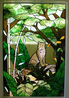These guys are pretty amazing. Stained Glass Paint, Custom Stained Glass, Stained Glass Projects, Stained Glass Windows, Mosaic Glass, Glass Art, Tropical, Glass Animals, Tree Designs