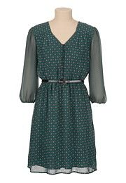 Belted Mixed Print Chiffon Peasant Dress - maurices.com