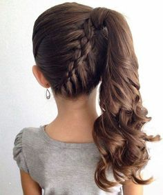 Frisur Ideen Mittelhaare – Neu Haare Frisuren 2018 in 2020 Braided Hairstyles For School, Prom Hairstyles For Long Hair, Flower Girl Hairstyles, Braids For Short Hair, Little Girl Hairstyles, Easy Hairstyles, Hairstyle Ideas, Wedding Hairstyles, Step Hairstyle