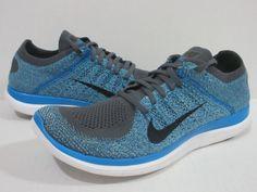 Nike Free 4.0 Flyknit Running Men's Sz.11 Dark Gray/Black/Photo Blue 631053 014 #Nike #RunningCrossTraining
