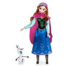 Anna is joined by her sun-loving snowman friend Olaf in this Classic Doll set. Frozen's bold heroine wears her signature outfit with detachable cape and coordinating cap. Disney Barbie Dolls, Disney Princess Dolls, Frozen Princess, Disney Frozen, Bloom Fashion, Frozen Dolls, Fall Gifts, Barbie Fashionista, Fairy Dolls