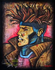 Gambit XMen Marvel Superhero Comic Artwork by SourAppleGallery, $19.99