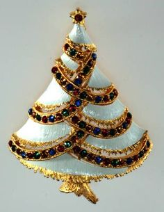J.J. (mark for Jonette Jewelry Co.) white tree with multi-colored rhinestones - late 60's/early 70's