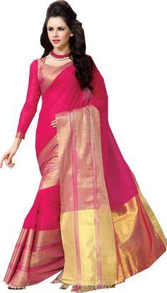 Rani Pink Causal Wear Saree Zari Work Printed Pallu Cotton Sari #SareeStudio #SareeSari #CausalWear