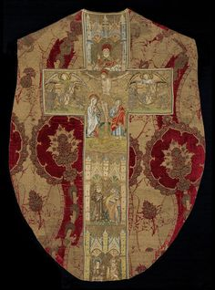 Chasuble with orphreys      Place of origin:      England, Great Britain (embroidered)     Italy (velvet, made)     Date:      1434-1445 (made)     Artist/Maker:      unknown (production)     Materials and Techniques:      Woven silk velvet, with embroidery in silk, silver-gilt and silver thread