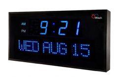 Big Oversized Digital Blue LED Calendar Clock