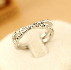 Free-Shipping-Size-7-pretty-Womens-9K-white-Gold-Filled-AAA-CZ-Ring-Y-G539