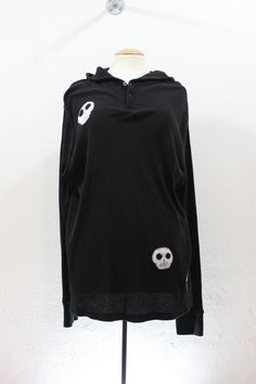 Up Cycled Black Hoodie with skull faces by sardineclothing on Etsy