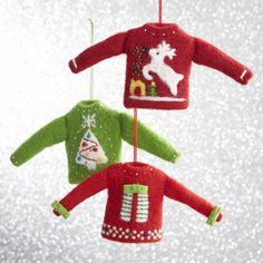 Set of 3 Woolly Sweater Ornaments