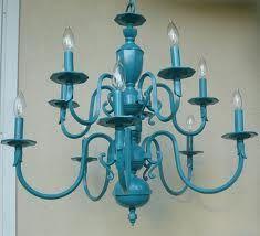 Teal chandelier