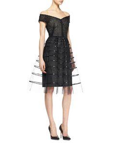 B2LD0 Lela Rose Off-Shoulder Embroidered Dress, Black