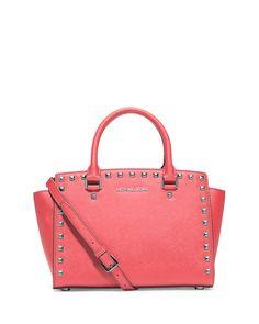 Selma Stud Medium Zip Satchel Bag, Coral - MICHAEL Michael Kors