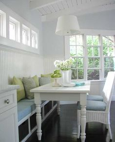 Love the beadboard, attaching to one wall, the padded bench.  Love all if it!