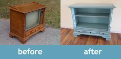 Old TV to side table.