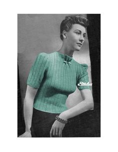 1940s High Neck, Puff Short Sleeves Ribbed Sweater Jumper - Knit pattern PDF 1051 by eStitches on Etsy https://www.etsy.com/listing/101919737/1940s-high-neck-puff-short-sleeves