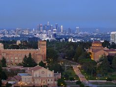 Aerial view of UCLA campus with Downtown Los Angeles in the background