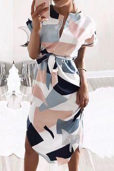 Chicnico Cute Strappy Geometric Multi Color Dress