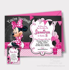 Items similar to SAME DAY SVC Minnie Mouse Birthday Invitation, Chalkboard Minnie Mouse, Minnie Mouse Birthday Invitation, Pink Polka Dot Minnie Mouse on Etsy Minnie Mouse Birthday Decorations, Minnie Mouse Birthday Invitations, Printable Birthday Invitations, Happy Birthday Banners, Party Printables, Invites, Minnie Birthday, Baby Birthday, Birthday Ideas