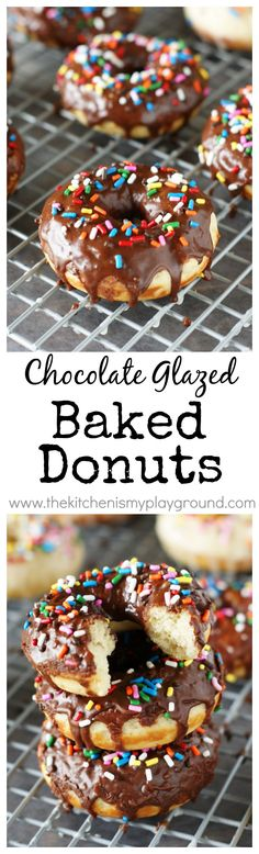 Chocolate Glazed Baked Donuts ~ fresh-made chocolate donuts at home, with no frying! www.thekitchenismyplayground.com
