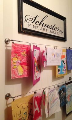 Getting Organized with Kids – 5 DIY Projects Kids art gallery…cute! Super simple DIY idea to make an art gallery wall out of the kids artwork. Displaying Kids Artwork, Artwork Display, Display Kids Art, Hanging Kids Artwork, Childrens Art Display, Art Wall Kids Display, Display Ideas, Kids Wall Decor, Kids Art Galleries