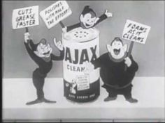 You'll see tiny elves cleaning with AJAX. VINTAGE ANIMATED 1951 AJAX CLEANSER COMMERCIAL - Suggested by Worker Studio's Ministry of Culture http://www.worker-studio.com