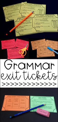 Grammar Exit Tickets are great to quickly assess language arts standards including parts of speech! Covers common core standards!