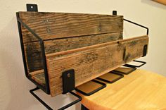 Historic Reclaimed Wood & Custom Steel Wine Rack with Stemware Hangers $135 found at https://www.etsy.com/listing/214863236/historic-reclaimed-wood-custom-steel?