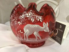Fenton Mary Gregory Ruby Red Rose Bowl '' Hello Friend DEER '' Gorgeous #872/2000~ 7424 XE ~ Limited Production by KatsVintageTreasures on Etsy