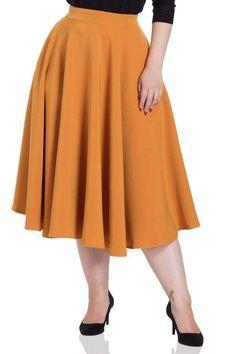 0cdea00fa4 Voodoo Vixen Mid Century Mustard Retro Gold Pin Up Sandy Summer Swing Skirt  S-2X