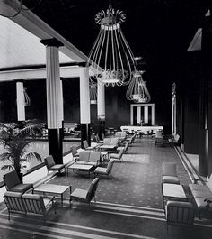 "This was the original restaurant DD designed in the Met, with her ""birdcage"" chandelier"