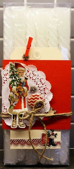 Christmas decorated giftbox with candles created by Dt Linda for anma.no