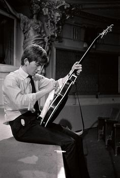 """pinkfled: """" George Harrison cleaning his guitar, 1963 """""""