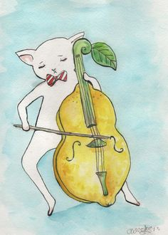 Cat Plays The Lemoncello GREETING CARD by ChristineWeeksArt, $4.00