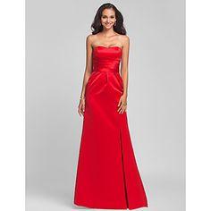 Sweep/Brush Train Satin Bridesmaid Dress - Ruby Plus Sizes / Petite Sheath/Column Sweetheart / Strapless – USD $ 79.99