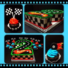 #2 racetrack birthday cake and cupcakes for Hot Wheels or Cars birthday party.