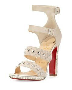 DecoDame Studded Red Sole Sandal, Colombe by Christian Louboutin at Neiman Marcus.