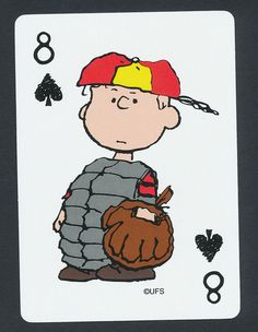 Charlie Brown baseball catcher Peanuts playing card single eight spades - 1 card