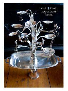 Fantastic silverware jewelry tree, from Missie Krissie on Etsy.