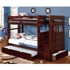 Furniture of America Brentor 2-Piece Classic Dark Walnut Bunk Bed with Trundle